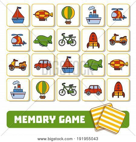 Vector memory game for children cards with transport objects