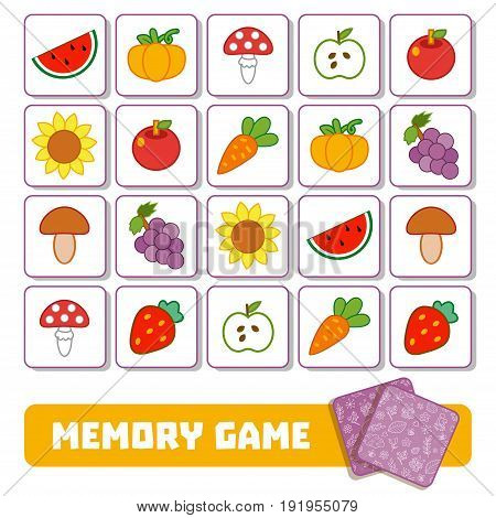 Vector memory game for children cards with fruits and vegetables