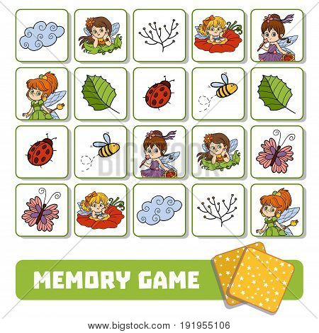 Memory Game For Children, Cards With Fairies And Natural Objects