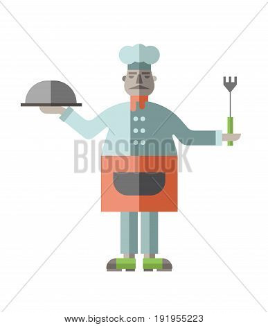Fat restaurant chef with prepared dish and fork in his hands. Vector illustration in flat style, isolated on white background.