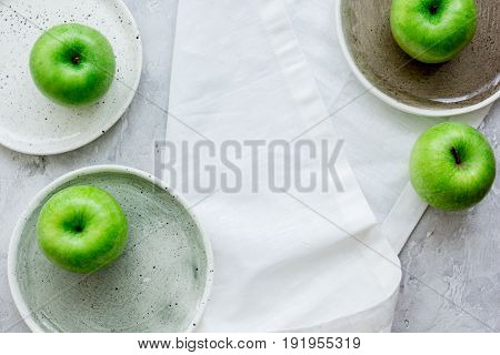 Green Apples For Healthy Dessert On White Background Top View Mockup