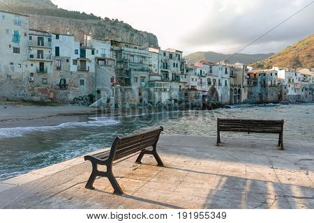 Touristic And Vacation Pearl Of Sicily, Benches In Small Town Of Cefalu, Sicily, South Italy