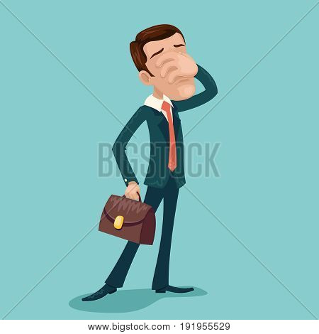 Disappointment Frustration Businessman Facepalm Cartoon Character Icon Retro Cartoon Design Vector Illustration
