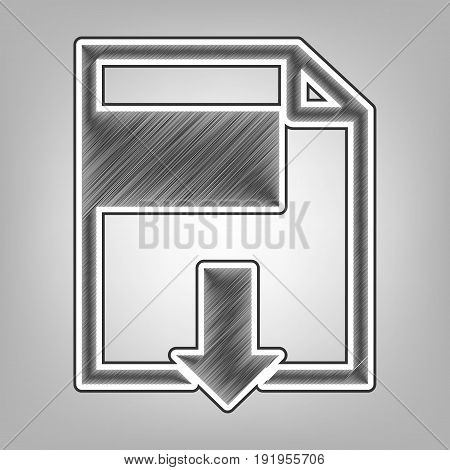 File download sign. Vector. Pencil sketch imitation. Dark gray scribble icon with dark gray outer contour at gray background.