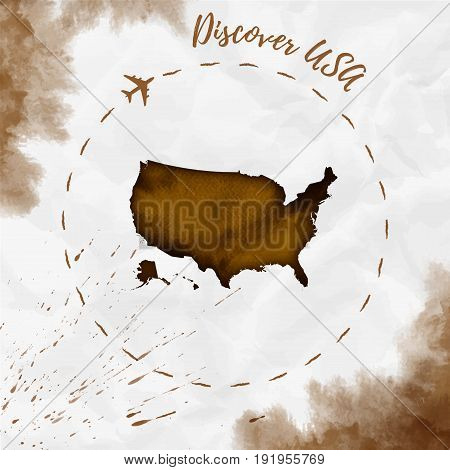 Usa Watercolor Map In Sepia Colors. Discover Usa Poster With Airplane Trace And Handpainted Watercol