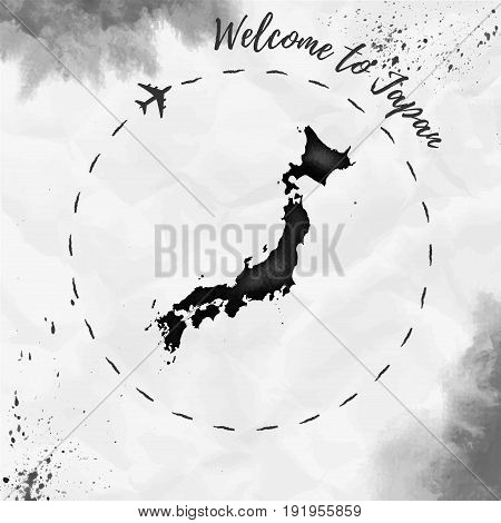Japan Watercolor Map In Black Colors. Welcome To Japan Poster With Airplane Trace And Handpainted Wa