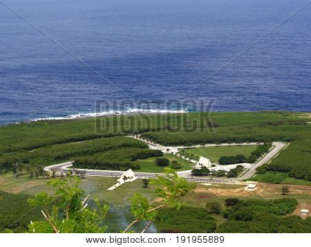 CNMI Veterans Cemetery viewed from the top of Suicide Cliff The CNMI Veterans Cemetery in Marpi, Saipan