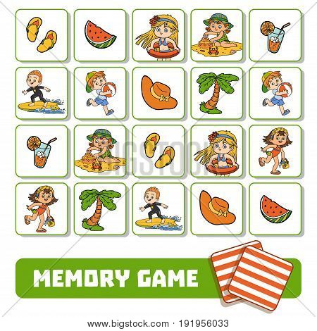 Memory Game For Children, Cards With Summer Children And Objects