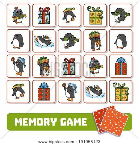 Memory Game For Children, Cards With Penguins And Gifts