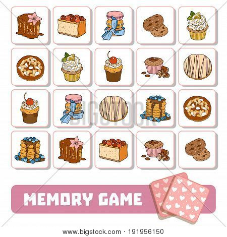 Vector memory game for children cards with sweets and cakes