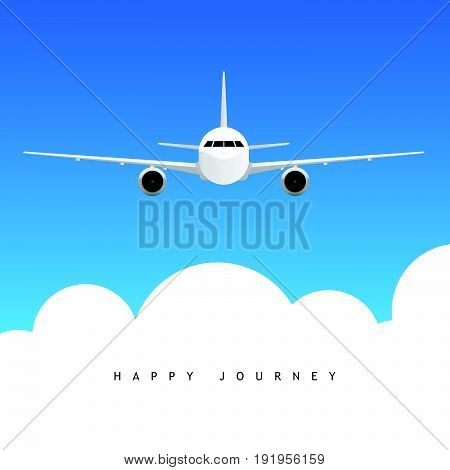 Airplane Above Clouds With Happy Journey Illustration