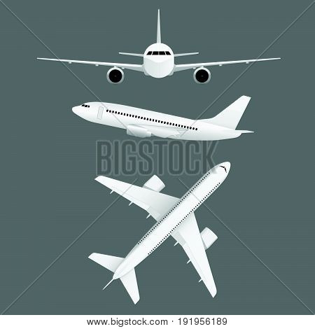 Airplane Flight White Set Illustration