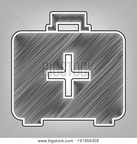 Medical First aid box sign. Vector. Pencil sketch imitation. Dark gray scribble icon with dark gray outer contour at gray background.