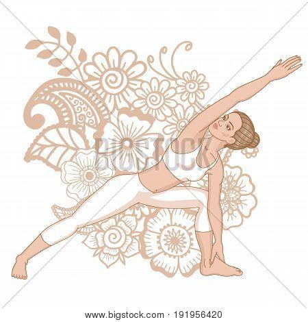 Women silhouette. Extended side angle yoga pose. Utthita Parsvakonasana. Vector illustration