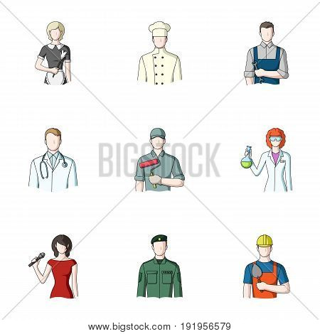 Doctor, worker, military, artist and other types of profession.Profession set collection icons in cartoon style vector symbol stock illustration .