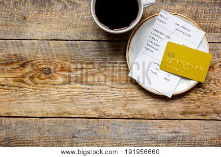 Paying Check For Lunch With Card Wooden Table Background Top View Mockup