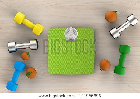 Weight Scales With Dumbbells And Oranges
