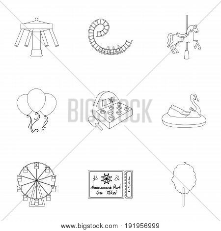 The amusement Park rides. The attributes of a recreational Park, panic room, cotton candy.Amusement Park icon in set collection on outline style vector symbol stock web illustration. poster