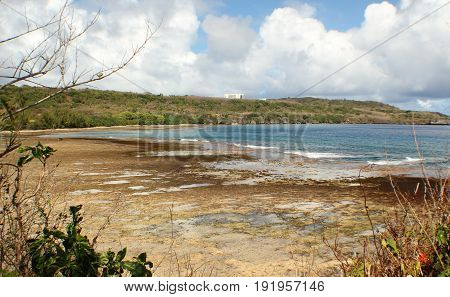 Laulau Bay on a low tide, Saipan Even at low tide, the Laulau Bay in San Vicente, Saipan is a sight to behold