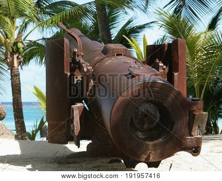 World War 11 Japanese cannon, Managaha Island, back view close up Back view close up of the relics of a World War 11 Japanese cannon preserved at Managaha Island, Saipan, Northern Mariana Islands