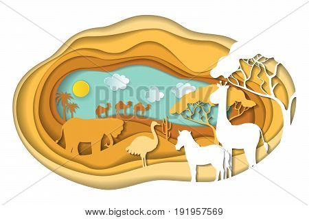 Paper art carving with landscape with african animals. Safari park. Cut style. Vector illustration.