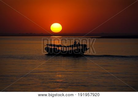 Sunset At Irrawaddy River, Myanmar