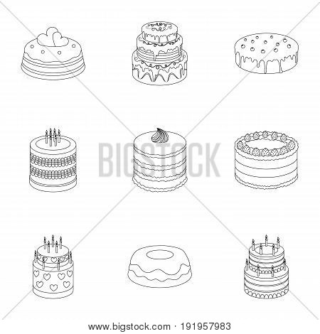 Cakes for the holidays. A set of different sweets. Beautifully decorated cakes and muffins.Cakes icon in set collection on outline style vector symbol stock web illustration.