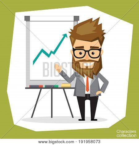 A man holds a presentation on flip chart. Vector illustration in a flat style.