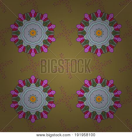 Vector sketch of colored mehndi mandala. Traditional indian style ornamental floral elements for henna tattoo colored stickers flash temporary tattoo mehndi and yoga design cards prints.