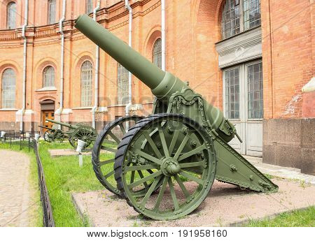 St. Petersburg Russia - 28 May, ,Siege howitzer of the 1904 model28 May, 2017. Military History Museum of combat equipment in St. Petersburg.