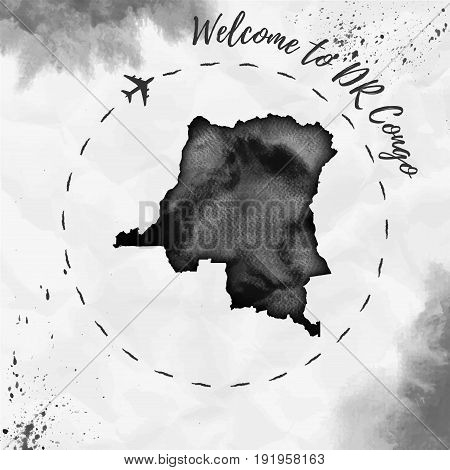 Dr Congo Watercolor Map In Black Colors. Welcome To Dr Congo Poster With Airplane Trace And Handpain