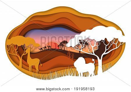Paper art carving of landscape with african animals. Safari park. Cut style. Vector illustration.