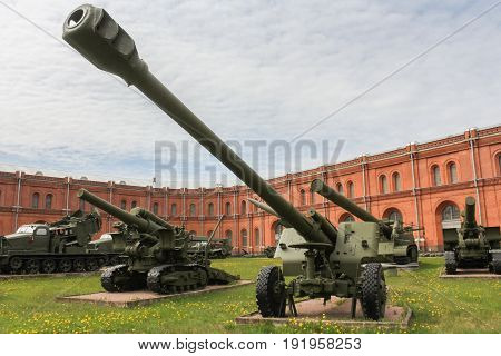 St. Petersburg Russia - 28 May, Long-range howitzer of the 1931 model,28 May, 2017. Military History Museum of combat equipment in St. Petersburg.