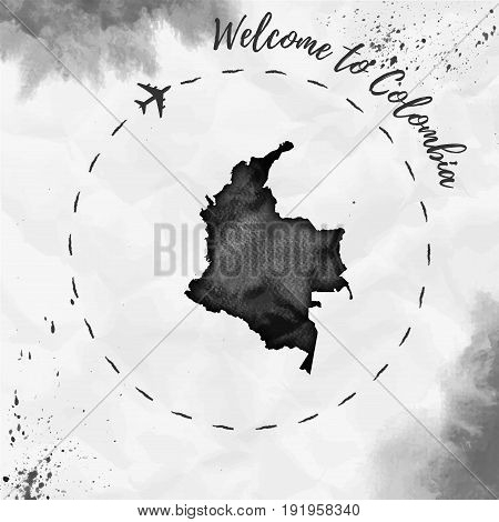 Colombia Watercolor Map In Black Colors. Welcome To Colombia Poster With Airplane Trace And Handpain