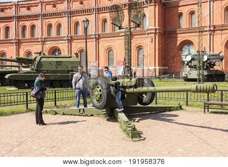 St. Petersburg Russia - 28 May, The D-30 howitzer family,28 May, 2017. Military History Museum of combat equipment in St. Petersburg.