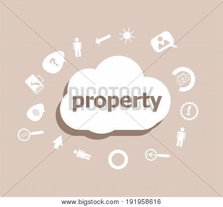 Text Property. Protection Concept . Icons Set For Cloud Computing For Web And App