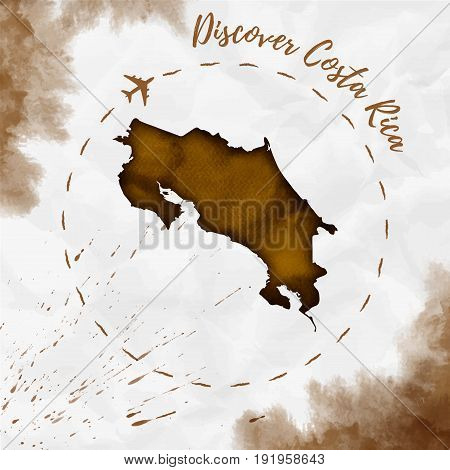Costa Rica Watercolor Map In Sepia Colors. Discover Costa Rica Poster With Airplane Trace And Handpa