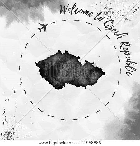 Czech Republic Watercolor Map In Black Colors. Welcome To Czech Republic Poster With Airplane Trace