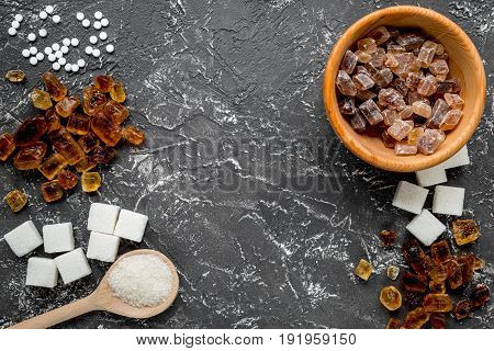Sugar Lumps For Sweet Food Cooking On Kitchen Dark Table Top View Mock Up