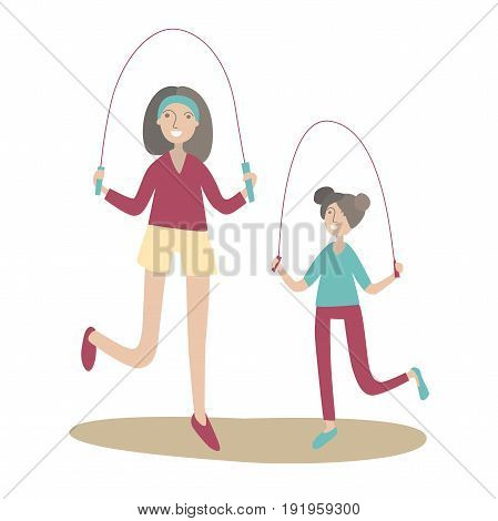 Mother and daughter jumping rope. Family Sports and physical activity with children, joint active recreation. Vector illustration in flat style, isolated on white background.