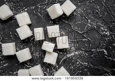 Lumps Of Sugar Sweet Set On Dark Table Background Top View Mockup
