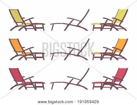 Chaise longue set, long wood and fabric chair for stretching out and outdoor leisure, complete leg and back rest, summer holiday bed. Vector flat style cartoon illustration, isolated, white background