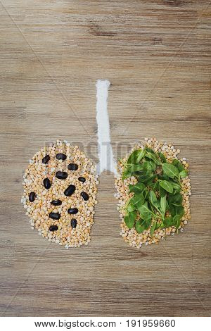 Overhead shot of human lungs made of dry peas and green leaves. Lung cancer disease air pollution tumor smoking concept. Bad ecology polluted environment issue symbol. Cancer awareness.