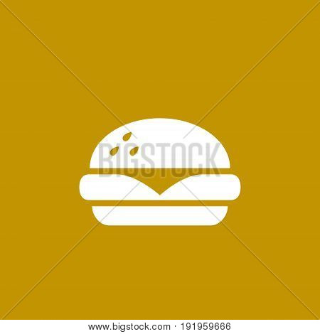 Burger fast food icon vector simple white symbol isolated illustration.