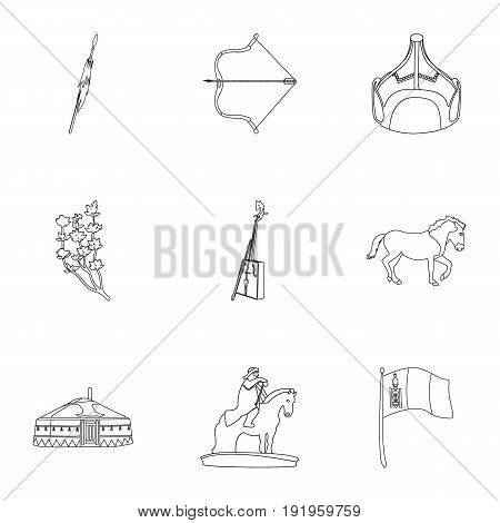 Mongolian national characteristics. Icons set about Mongolia.Clothing, soldiers, equipment. Mongolia icon in set collection on outline style vector symbol stock web illustration.