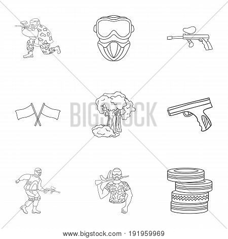 A collection of pictures about the game in paintball. The balloons with paint.Paintball icon in set collection on outline style vector symbol stock web illustration.
