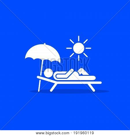 Man relax on beach under an umbrella on chaise-longue white icon on blue background. Vector sea rest vacation symbol.