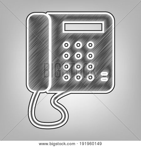Communication or phone sign. Vector. Pencil sketch imitation. Dark gray scribble icon with dark gray outer contour at gray background.