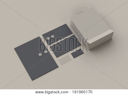 Base gray stationery mock-up template for branding identity for graphic designers presentations and portfolios. 3D rendering.