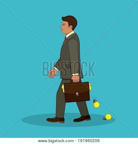A talented businessman comes with a portfolio full of ideas. Vector isolated illustration. Business concept.